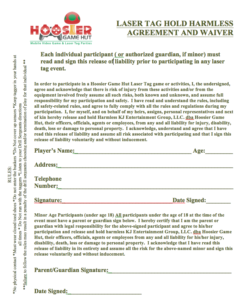 Laser tag party hold harmless waiver click to download waiver form platinumwayz
